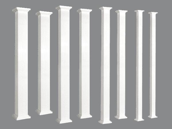 Colonnes d'aluminium carrées